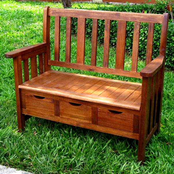 teak type hardwood outdoor storage bench view images - Teak Bench