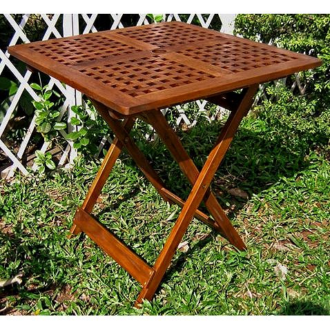 Acacia Hardwood Grate Top Folding Side Table