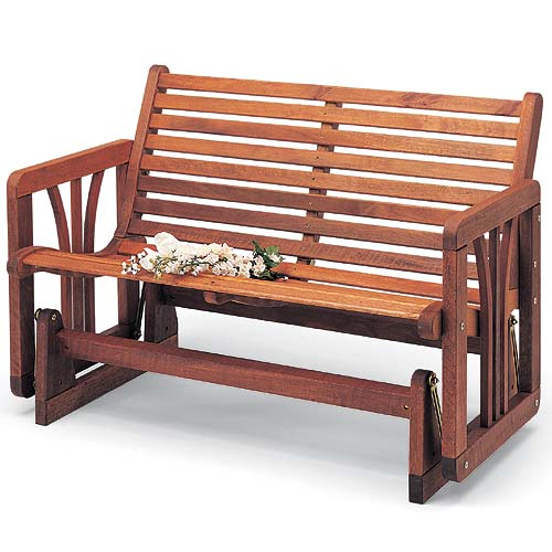 Teak Oiled Mahogany Glider Bench. View Images