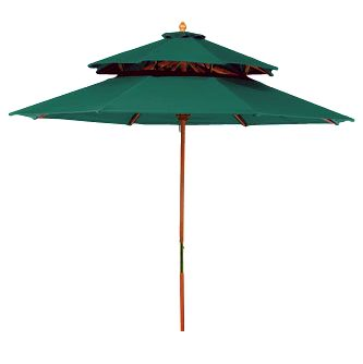 Deluxe Wood 7 Foot Green Outdoor Market Umbrella
