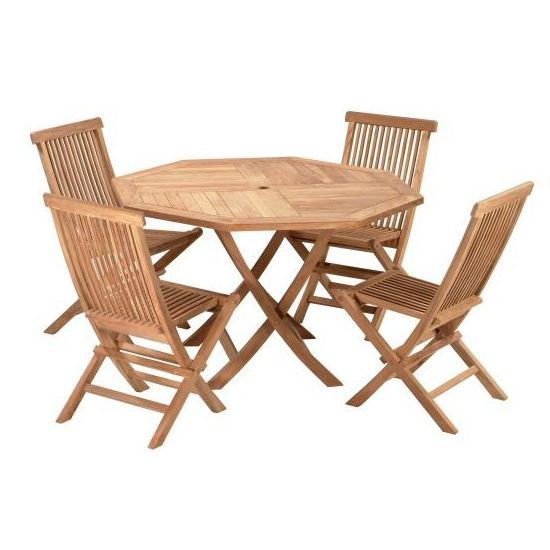 Teak 47 Inch Octagonal Folding Dining Table