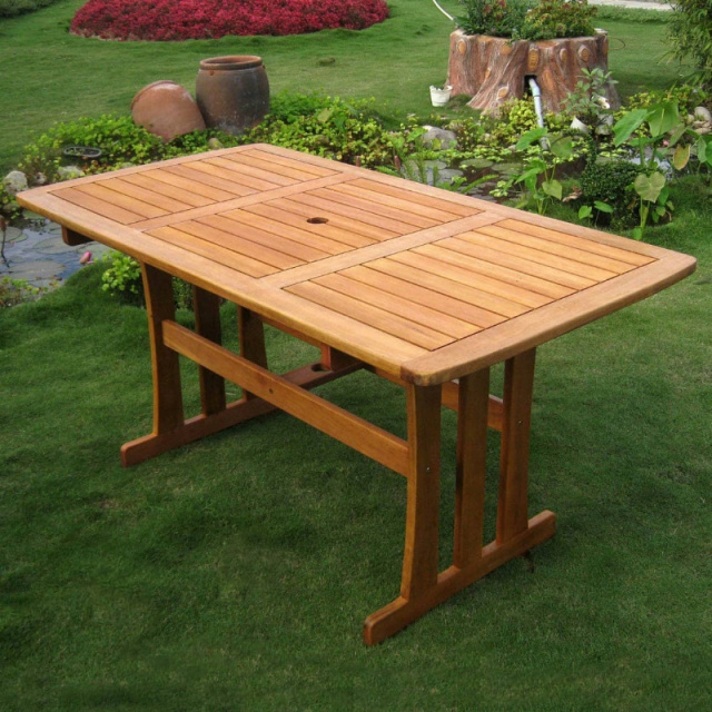 Balau Rectangular 59 Inch Mission Patio Dining Table