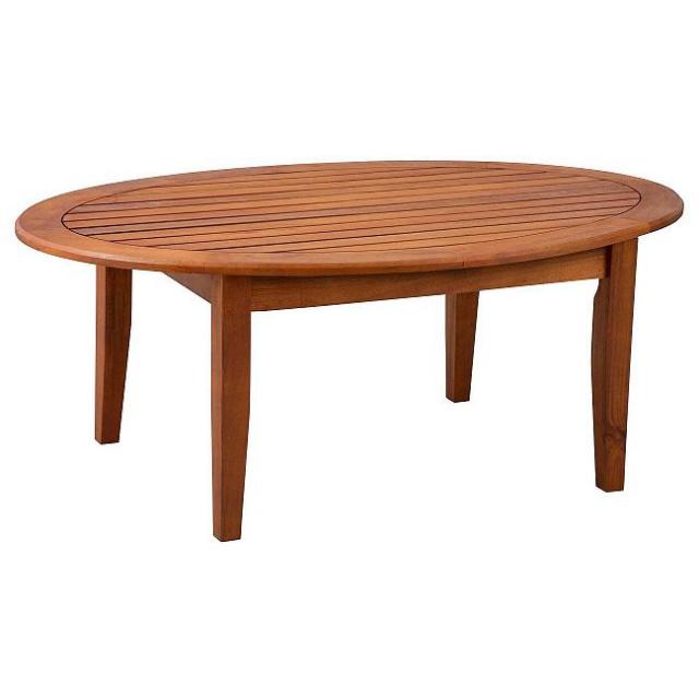 Teak Oval Coffee Table: Eucalyptus Hardwood Oval Deck Coffee Table