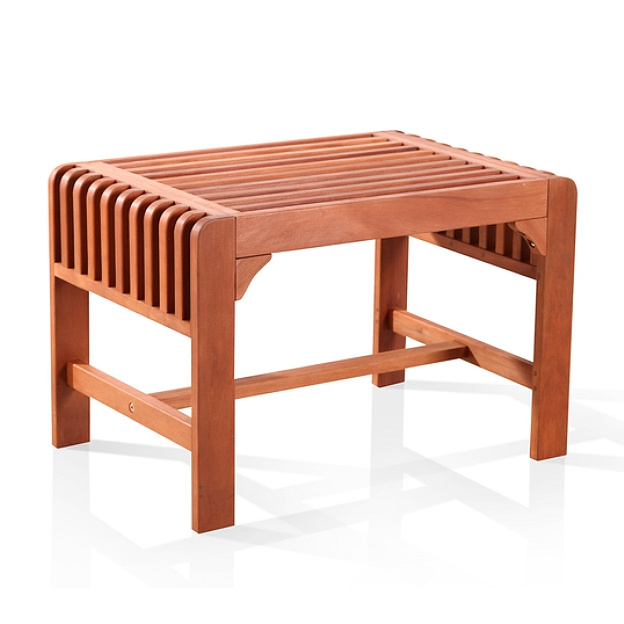 Eucalyptus 2 Foot Slatted Outdoor Backless Bench