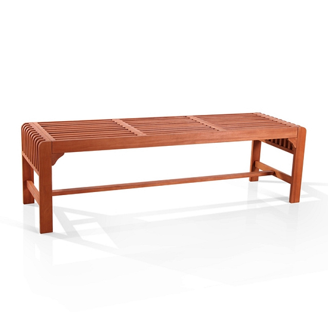 Eucalyptus 5 Foot Slatted Outdoor Backless Bench