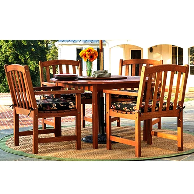 Eucalyptus 5 Piece 47 Inch Outdoor Patio Dining Set