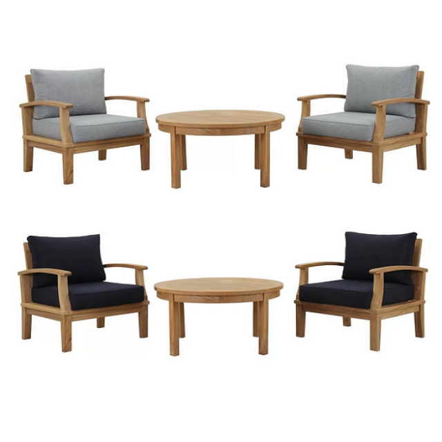 Teak 3pc Deep Seating Conversation Set with Cushions - Colors