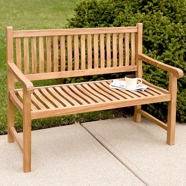 Teak 4 Foot Classic Patio Outdoor Bench