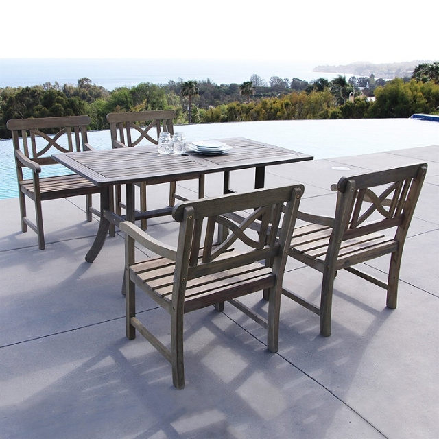 Acacia 5 Piece 59 Inch Weathered Gray Outdoor Dining Set