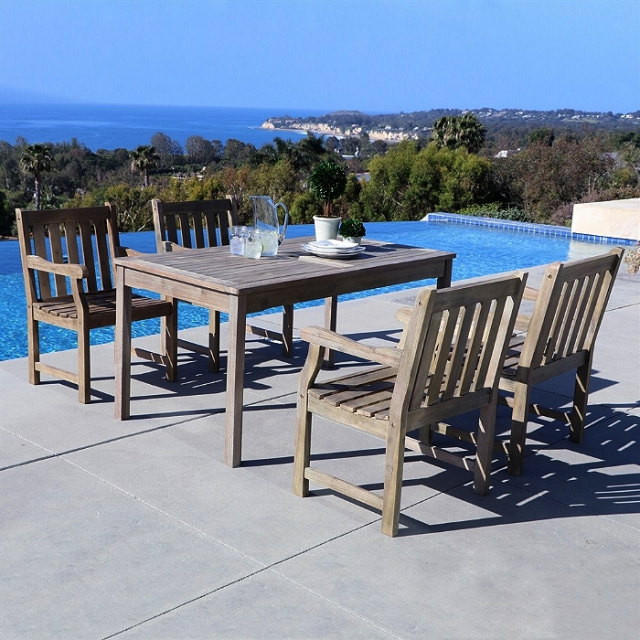 Acacia 5 Piece 59 Inch Aged Gray Slat Back Outdoor Dining Set