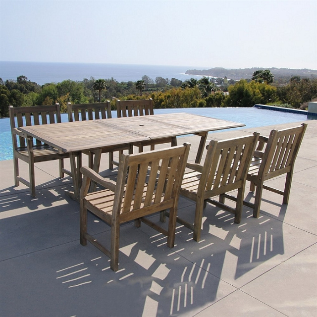 Acacia 7 Piece Expandable 90 Inch Gray Slat Back Dining Set