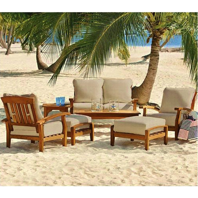 - Teak 7 Piece Deep Seating Conversation Set With Cushions