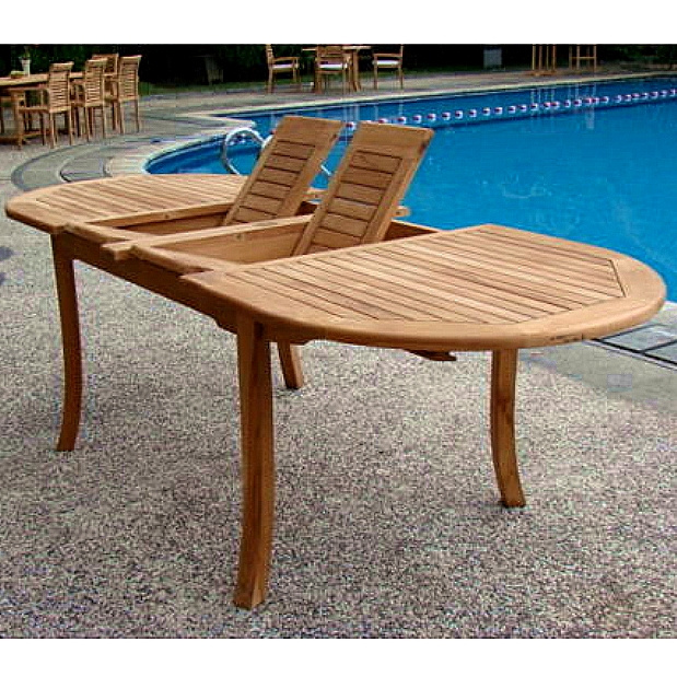 Teak 7 Piece 71 to 94 Inch Deluxe Backyard Dining Set