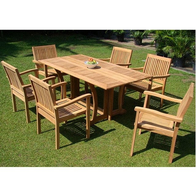 Teak 7 Piece 68 Inch Deck Patio Dining Set