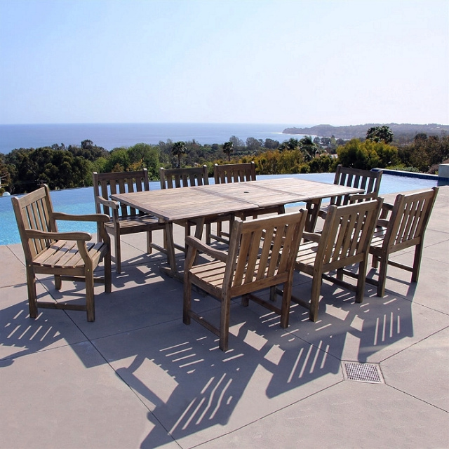 Acacia 9 Piece 67 to 90 Inch Scraped Gray Outdoor Dining Set