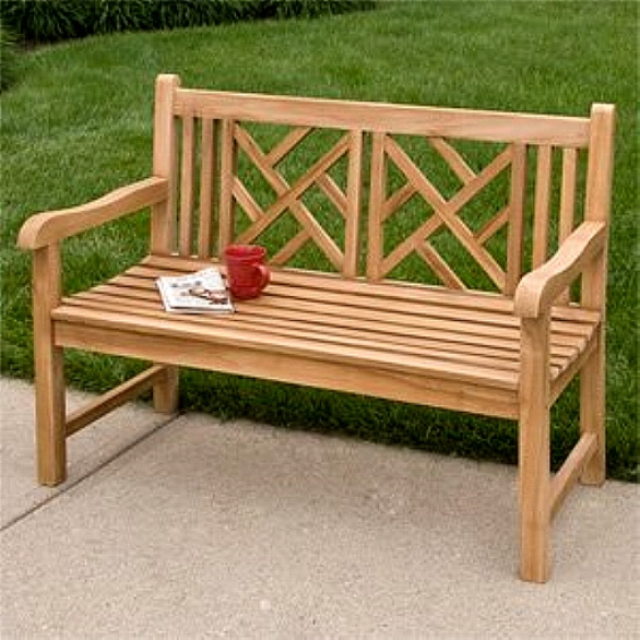 Teak Chippendale 4 Foot Outdoor Garden Bench