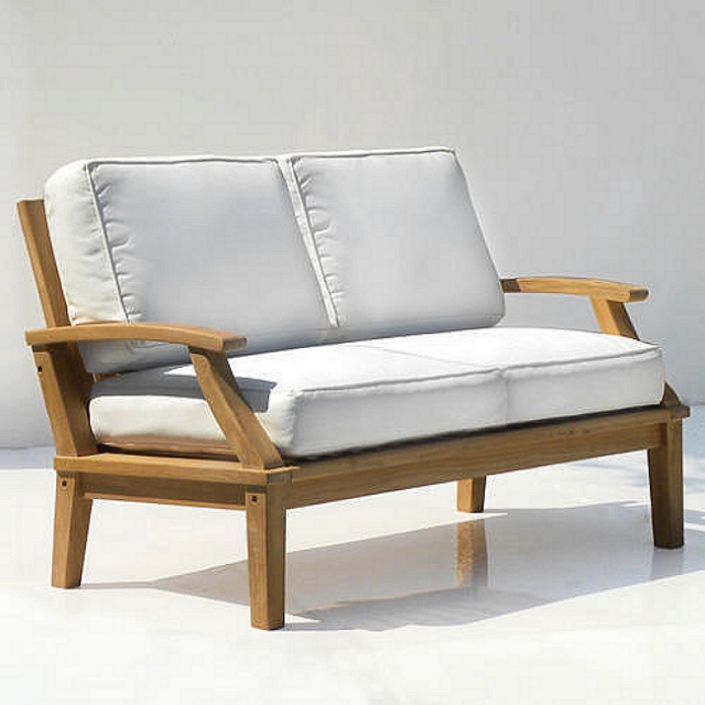 Teak Commercial Grade Deep Seating Loveseat with Cushions
