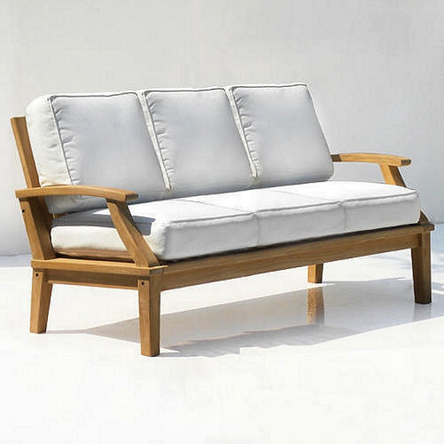 Teak Commercial Grade Deep Seating Sofa with Cushions