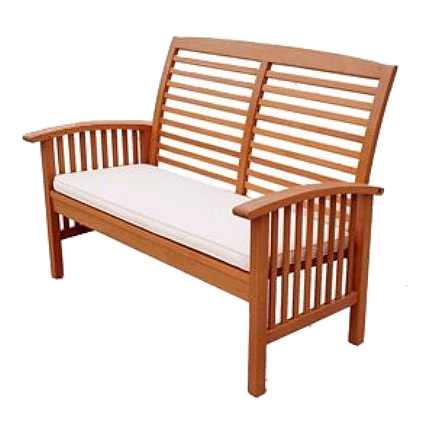 Balau Mission Loveseat Bench with Cushion