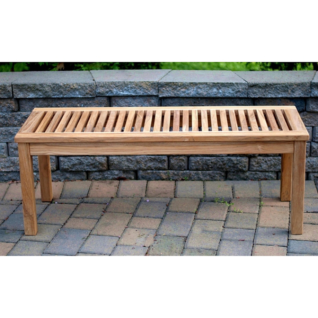 Sensational Teak 4 Foot Outdoor Backless Slat Patio Bench Ncnpc Chair Design For Home Ncnpcorg