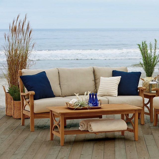 Teak Outdoor Deep Seating Sofa with Cushions