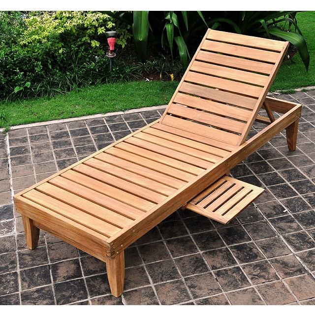 Teak Outdoor Patio Chaise Lounger. View Images - Teak Outdoor Patio Chaise Lounger