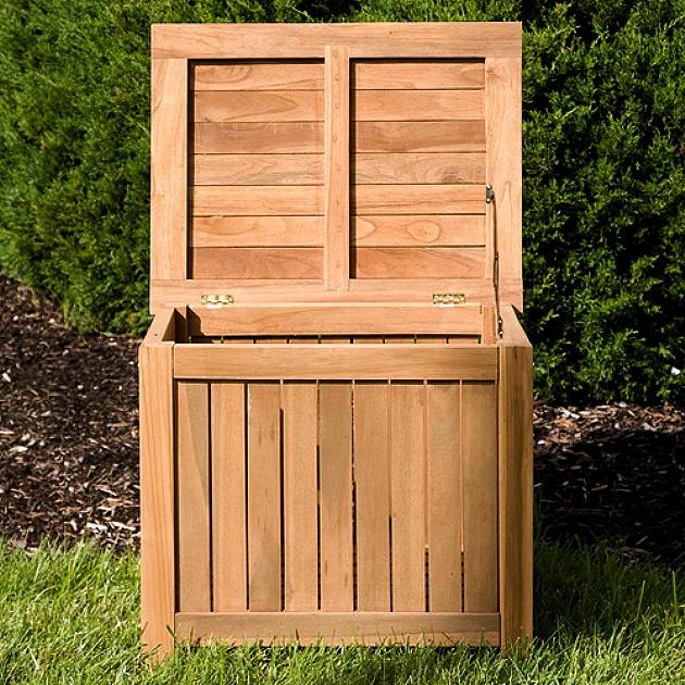 Teak Patio Deck Storage Box Trunk
