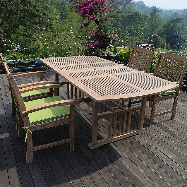 Teak 5 Piece 60 to 84 Inch Courtyard Dining Set with Cushions