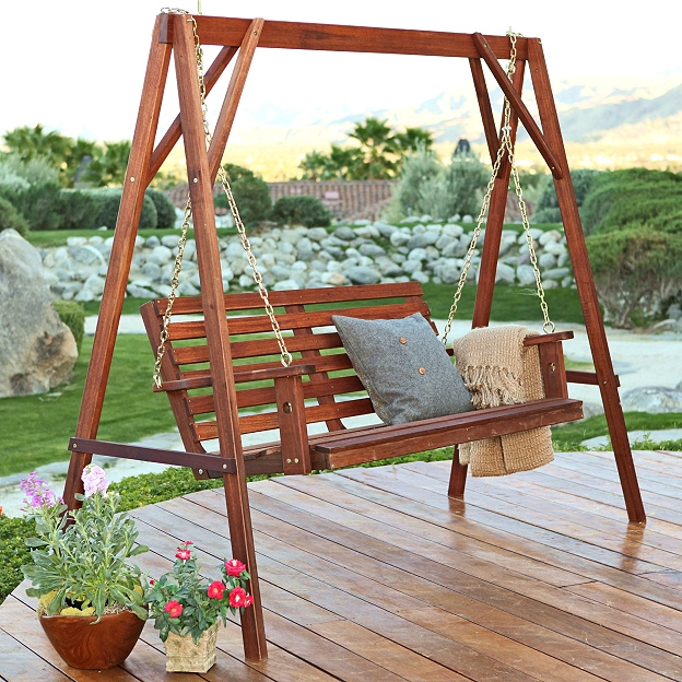 Amazing Teak Type 3 Person Patio Garden Swing Set. View Images