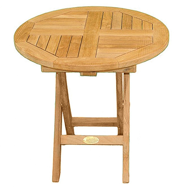Teak Round Folding Garden Side Table