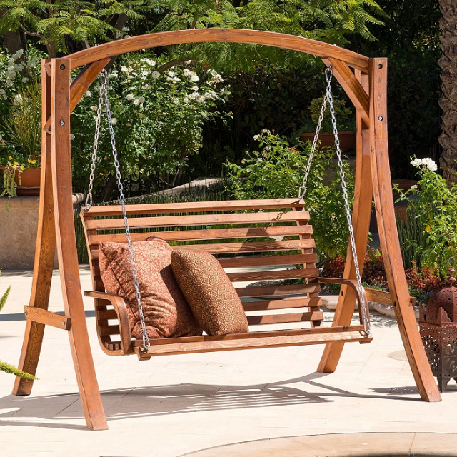 Teak Stained Patio Garden Porch Swing Set and Stand