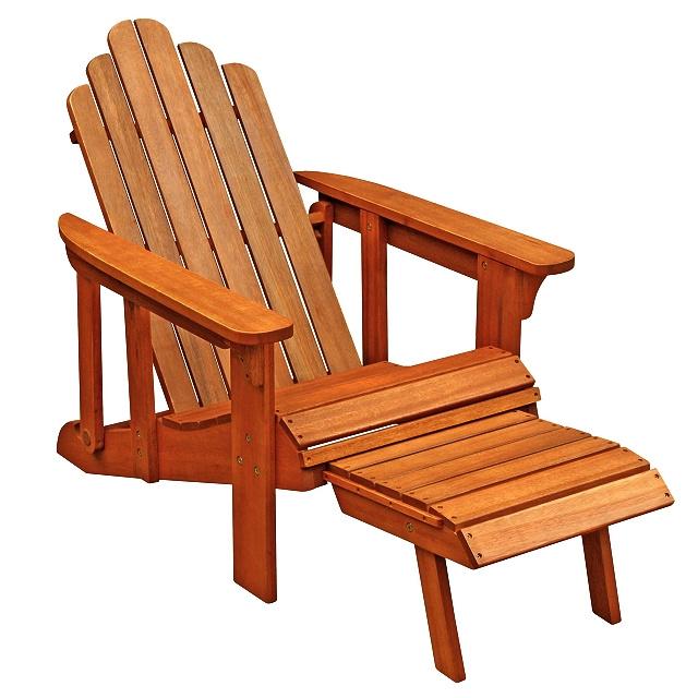 teak type eucalyptus adirondack chair with ottoman