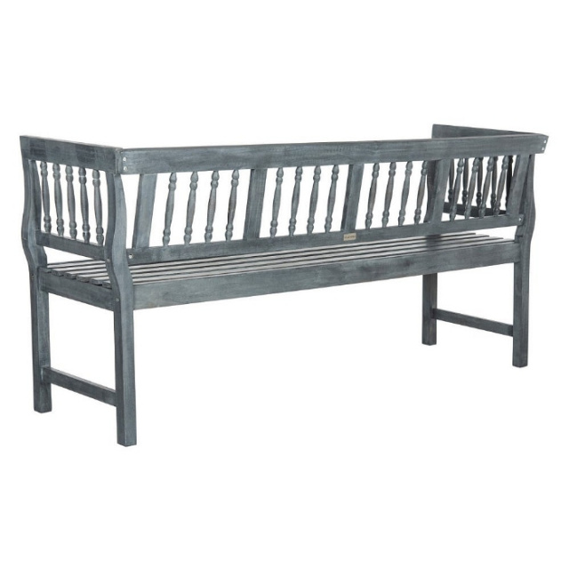Acacia 5 5 Foot Weathered Gray Spindle Outdoor Garden Bench