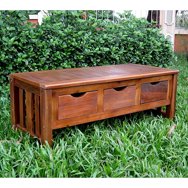 Teak Type Hardwood Backless Storage Bench. View Images