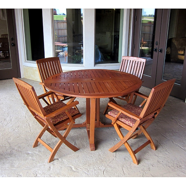 Balau Teak Type Piece Inch Round Terrace Dining Set - 52 inch round outdoor dining table