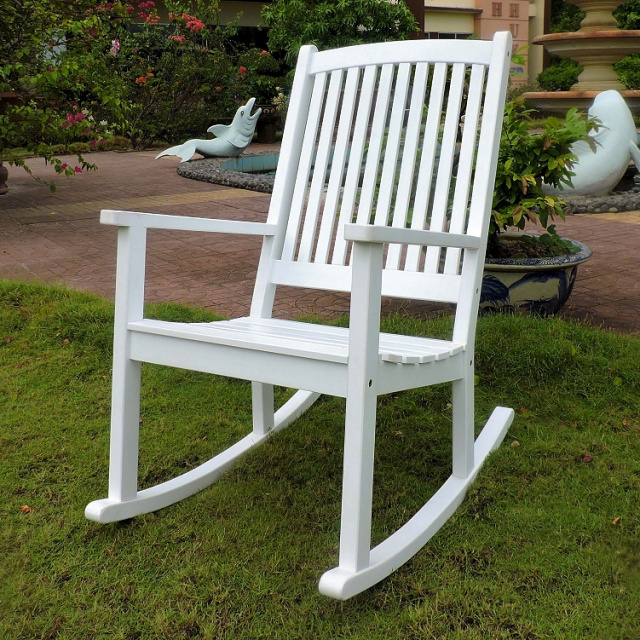White Mission Style Outdoor Porch Rocking Chair. View Images