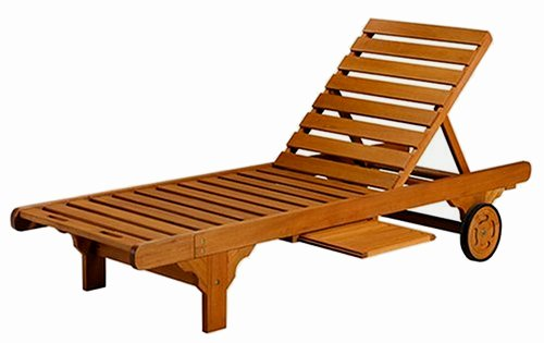 Teak Type Wood Outdoor Chaise Lounger