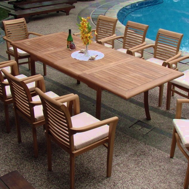 Teak To Inch Dual Butterfly Leaf Outdoor Dining Table - Outdoor teak extension dining table