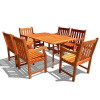 Eucalyptus 7 Piece 59 Inch Deck Dining Set with Armchairs