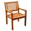 Pair Teak Type Outdoor Patio Armchairs