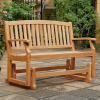 Teak 4 Foot Arched Patio Glider Bench