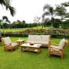 Teak 5pc Deep Seating With Cushions Conversation Set