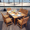 Teak 6pc Deluxe Patio Dining Set