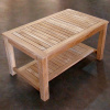 Teak Commercial Grade Coffee Table with Lower Shelf