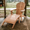 Teak Deluxe Adirondack Outdoor Chair and Footstool