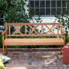 Teak Finish 5' X-Back Patio Garden Bench