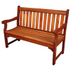 Classic Teak Oiled 4 Foot Slat Back Outdoor Bench