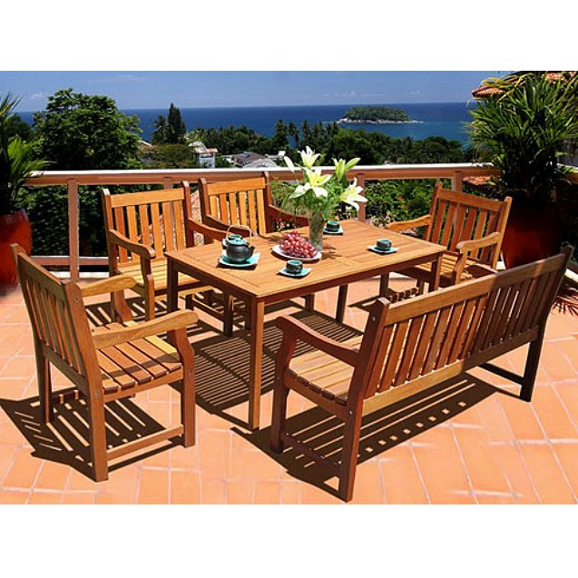 Eucalyptus 6 Piece 59 Inch Dining Set with Bench