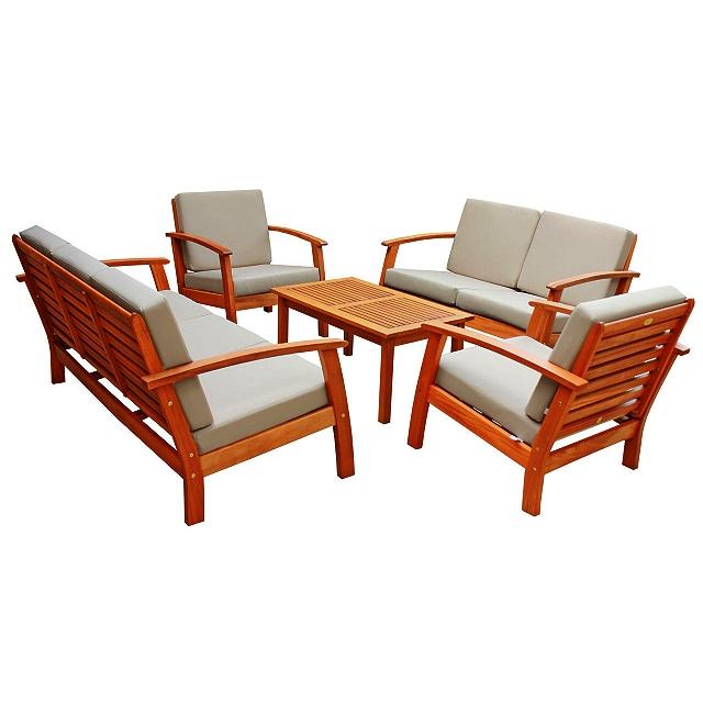 5pc Teak Type Deep Seating Conversation Set with Cushions
