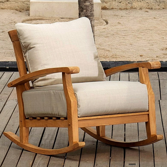 Deep Seating Teak Outdoor Rocking Chair With Cushions
